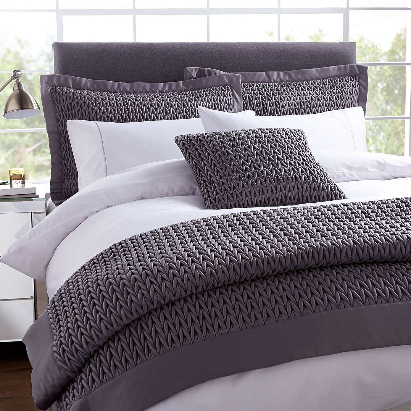 Charcoal Grey Bedding Hotel Charcoal Piccadilly Square Cushion Dunelm New