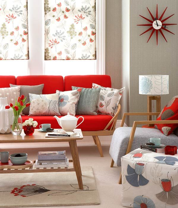 floral patterns in a mid-century, retro style living room Go - retro living room furniture