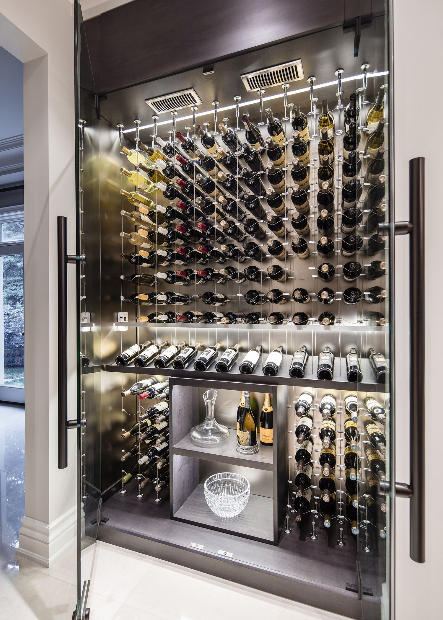 Long Wall Wine Rack Modern Custom Reach In Wine Cellar Featuring The Cable