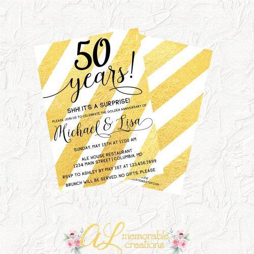Medium Of 50th Anniversary Invitations