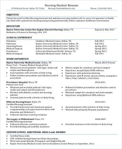 cna sample resume