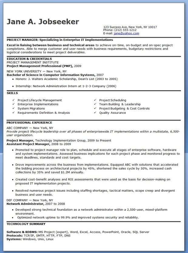Entry Level IT Project Manager Resume Creative Resume Design - entry level resume templates