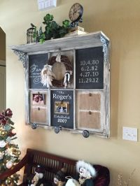 Vintage window, shelf and wreath. | Recycled Window Frames ...
