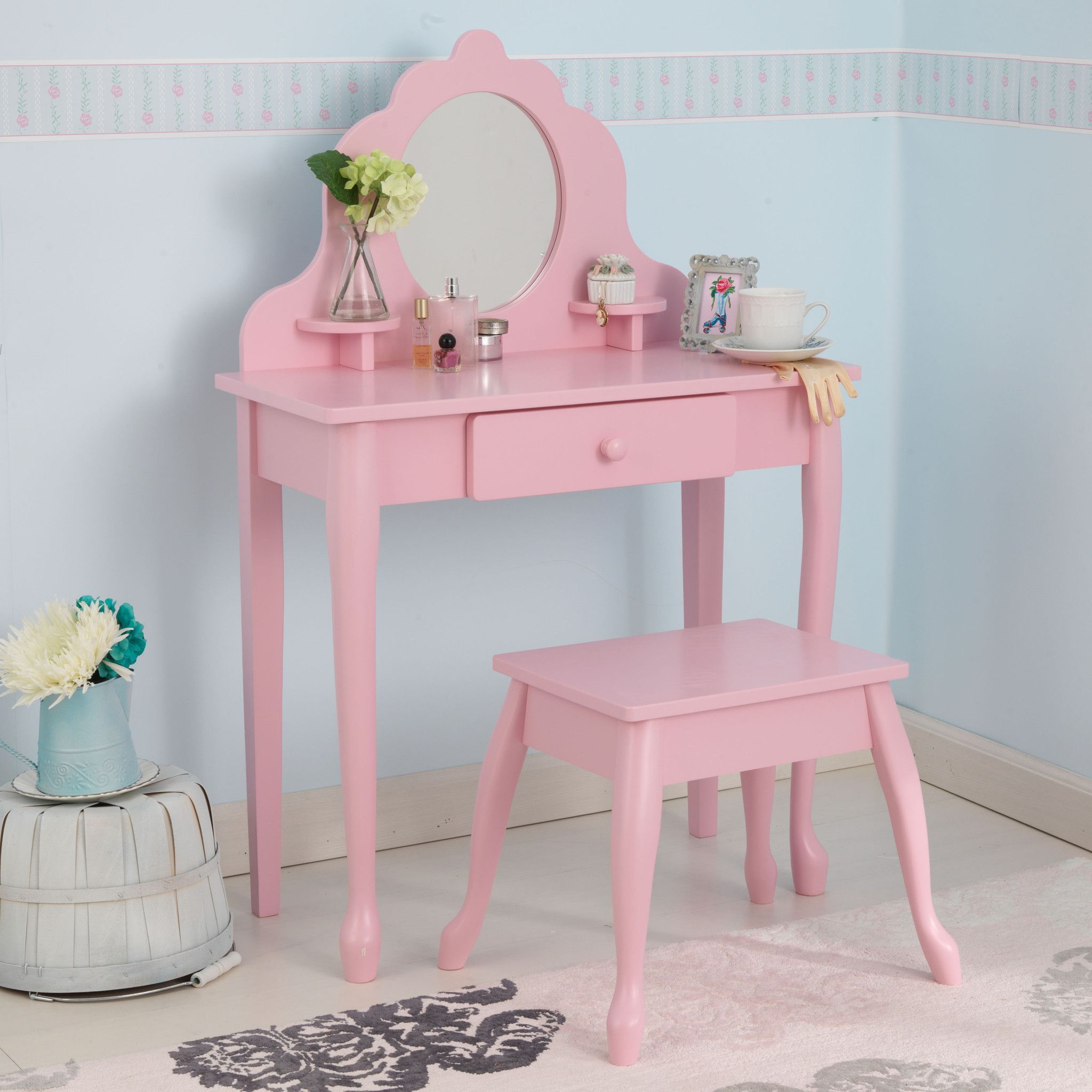 Vertbaudet Coiffeuse Kidkraft Medium Diva Table U Stool Pink Vanity Tables