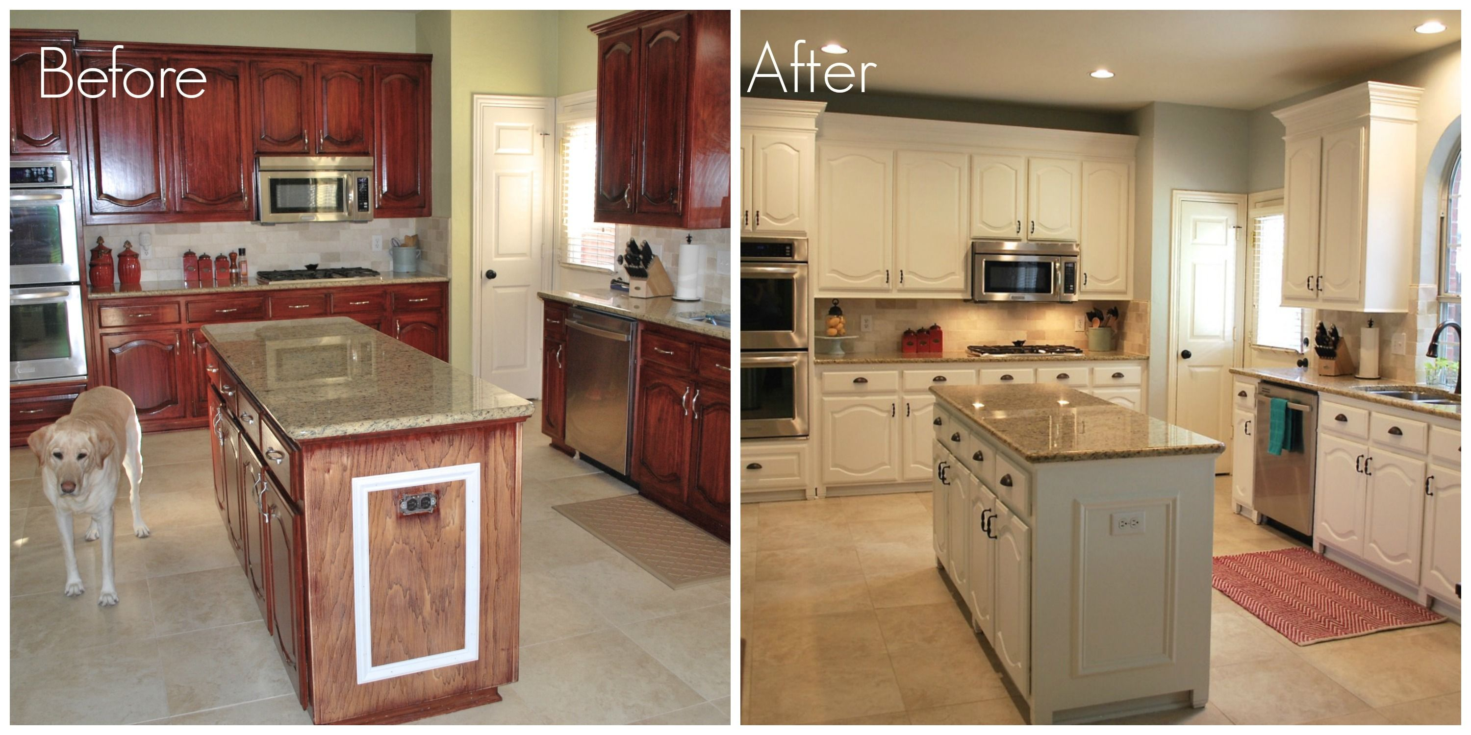 How To Paint Kitchen Cabinets White With A Sprayer Before And After Kitchen Remodel Pinterest Painting