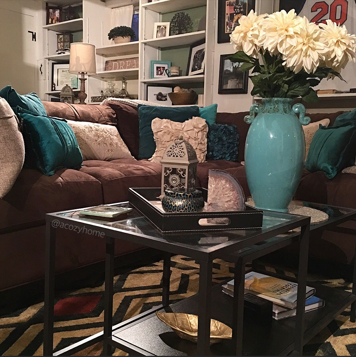 Teal Accents Living Room Cozy Brown Couch With Teal Accents Turquoise And Brown