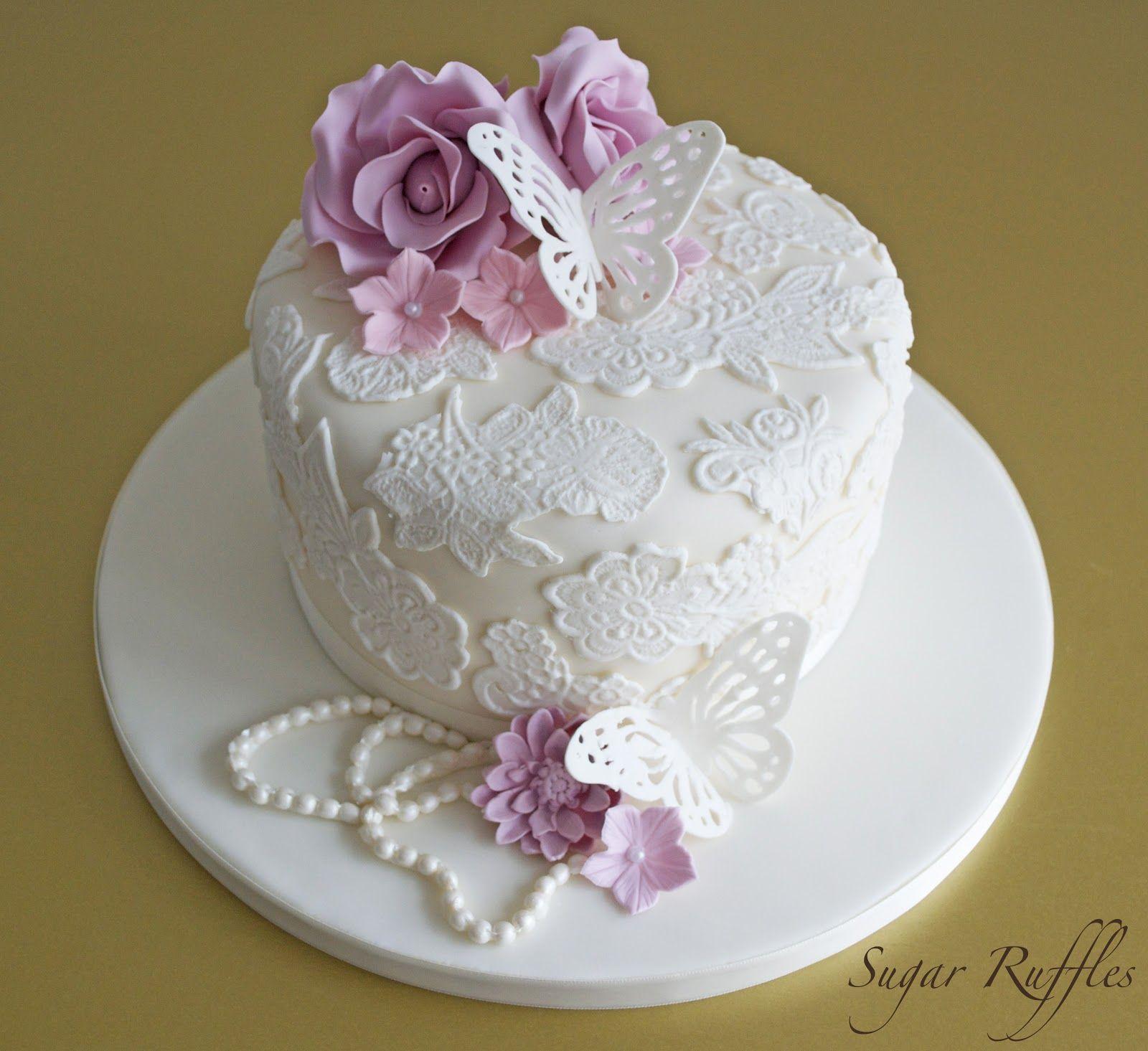 Mum S Seventieth Birthday Cake Fondant Roses And Cake Lace The