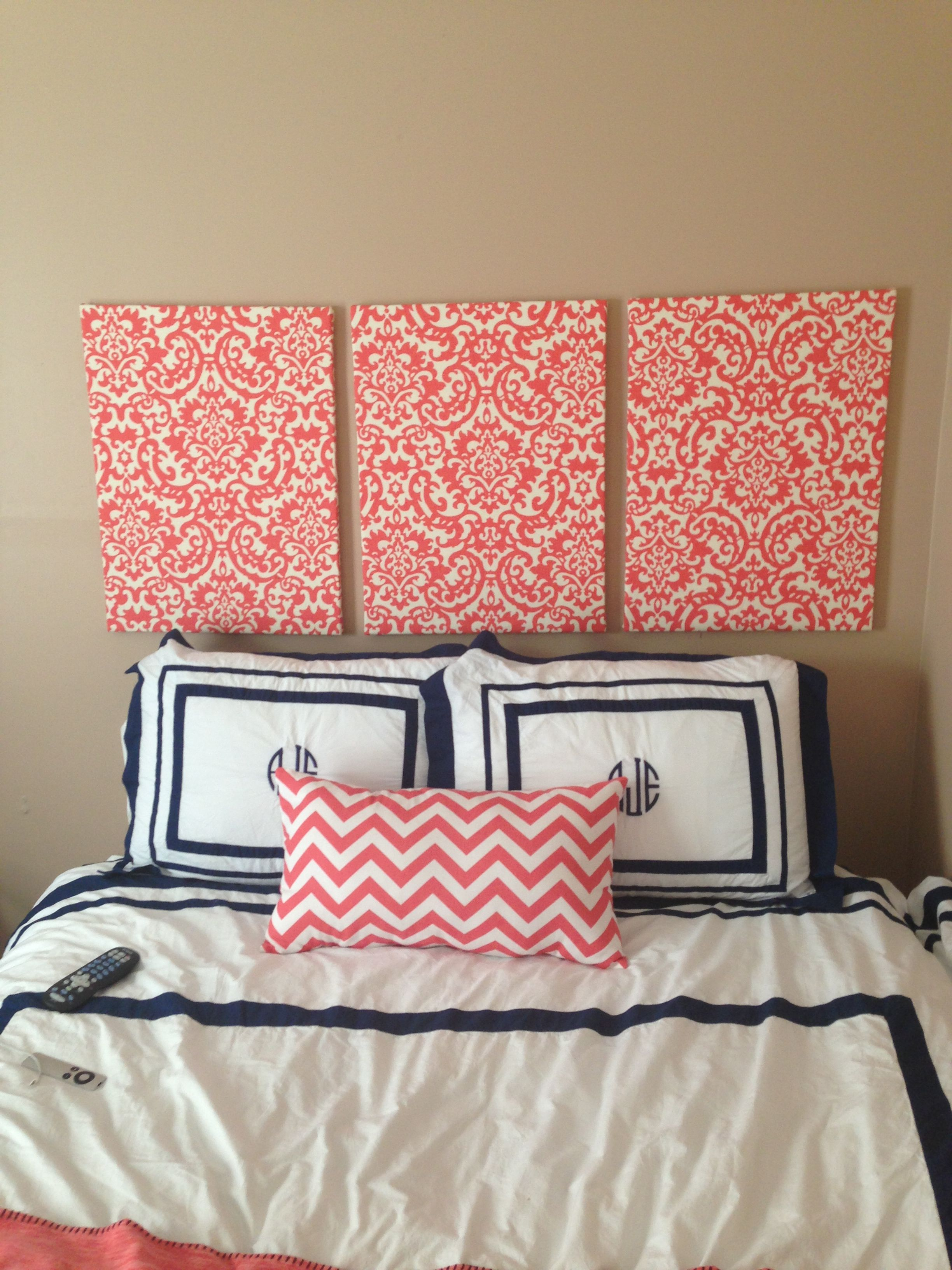 Fabric covered canvas as headboard