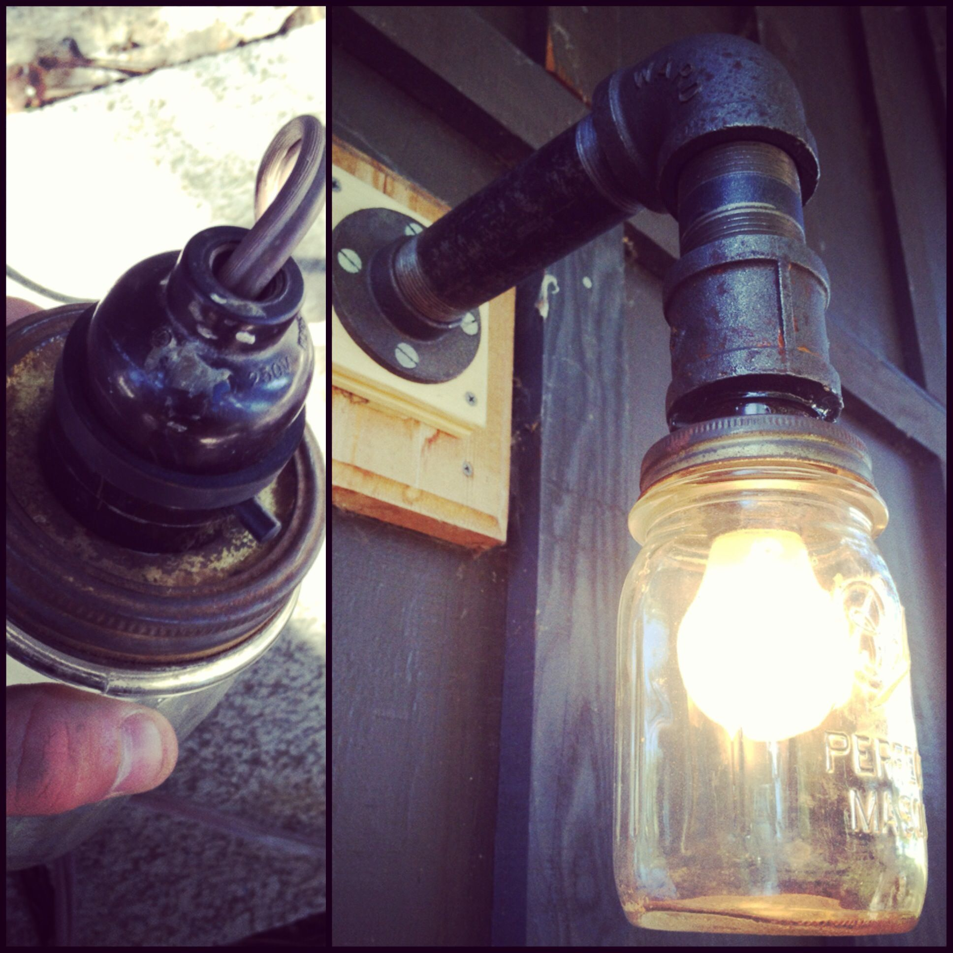 Pipe Light Fixtures Diy Mason Jar Porch Light Black Iron Pipe For The Arm