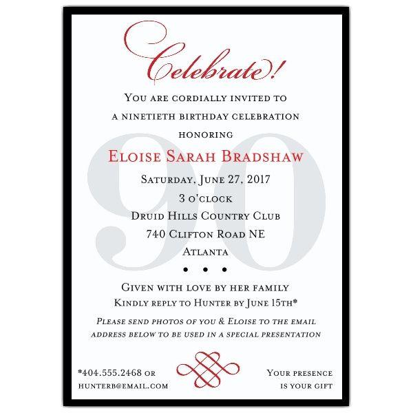 Classic 90th Birthday Invitations Linda Bean Pinterest 90th - birthday invitation letter sample
