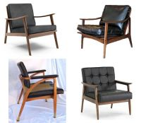 mid century modern black leather chairs More Or Less ...