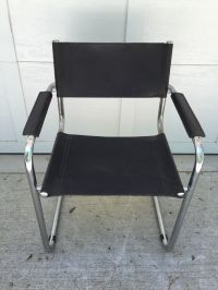 Unsigned Arper Italian Black Leather Chrome Chair Vintage