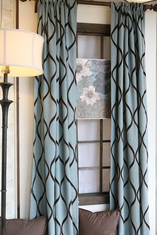 Curtain panels in turquoise and brown CURTAIN PANELS TURQUOISE - turquoise curtains for living room