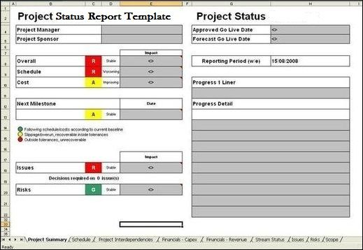 Project Report Template ExcelTemple Excel Project Management - project report template word