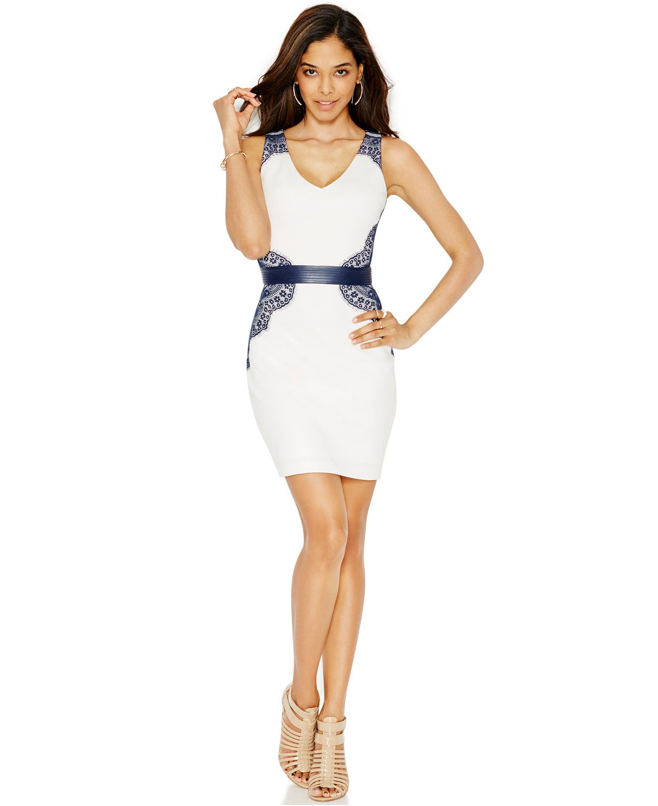 macy's wedding dresses GUESS Lace Belted Bodycon Dress Dresses Women Macy s