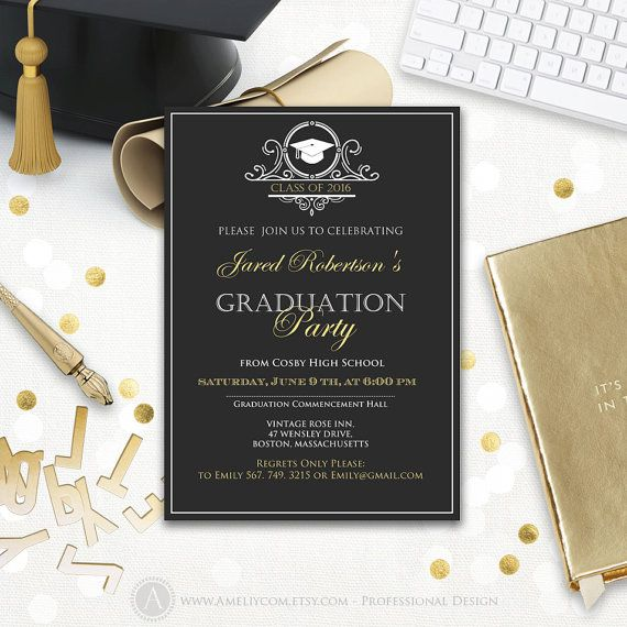 Graduation party invitation printable boy college graduation - graduation invitation template