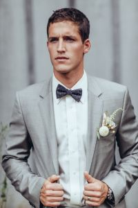 Dapper real groom in suit #graysuit #bowtie #groom | The ...