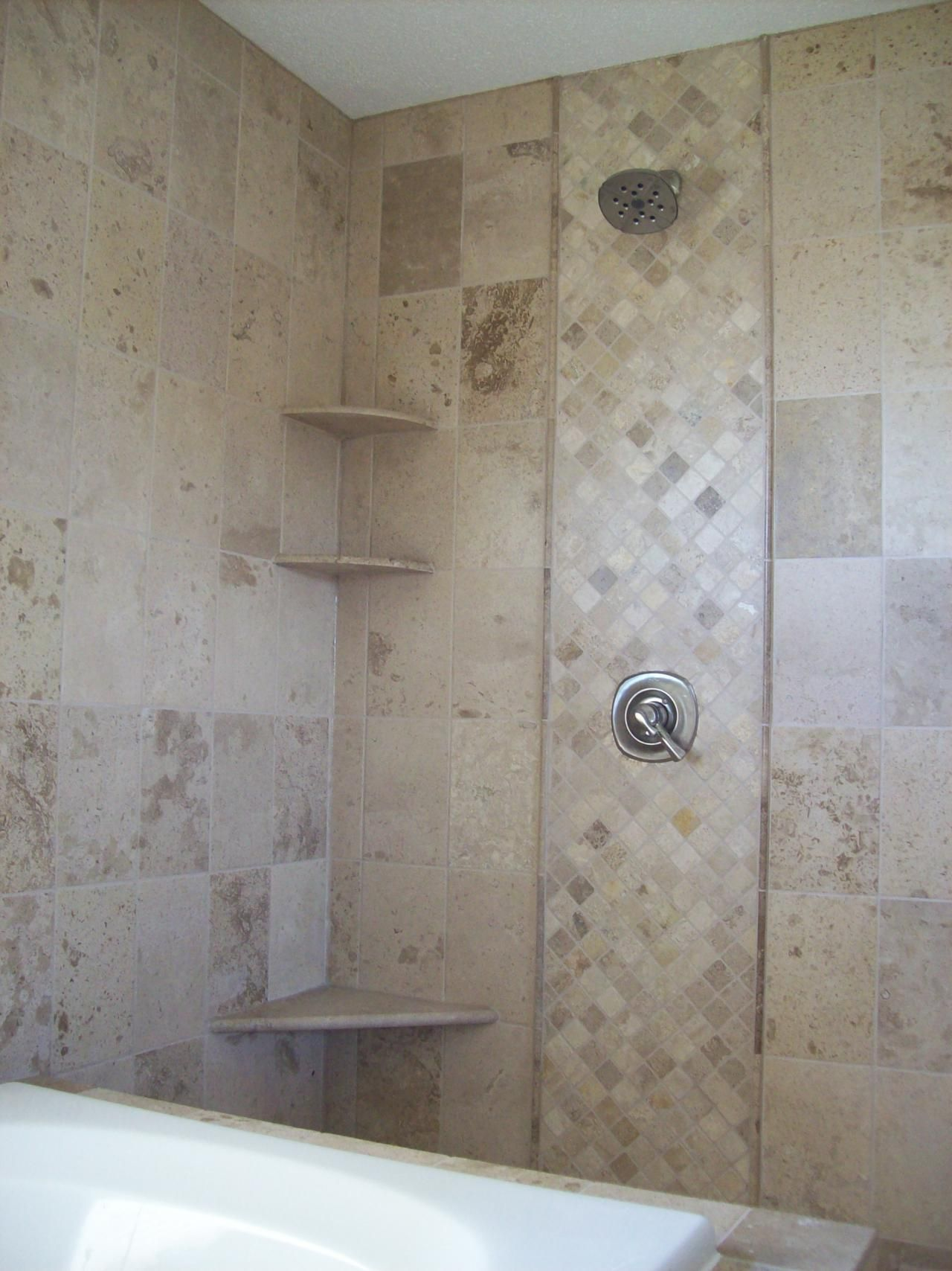 Shower Accent Tile Natural Stone Tile Shower And Tub Surround, Tile Flooring