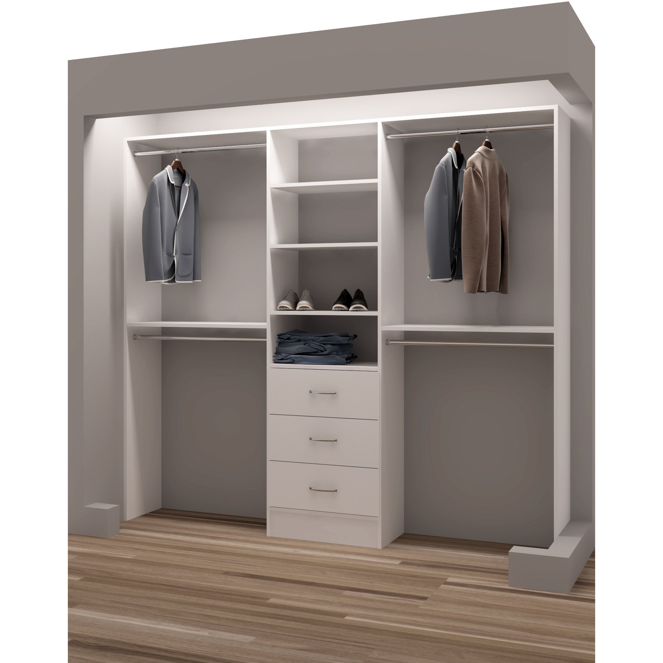 Diy Organization Ideas For Closets Tidysquares Classic White Wood 87 Inch Reach In Closet