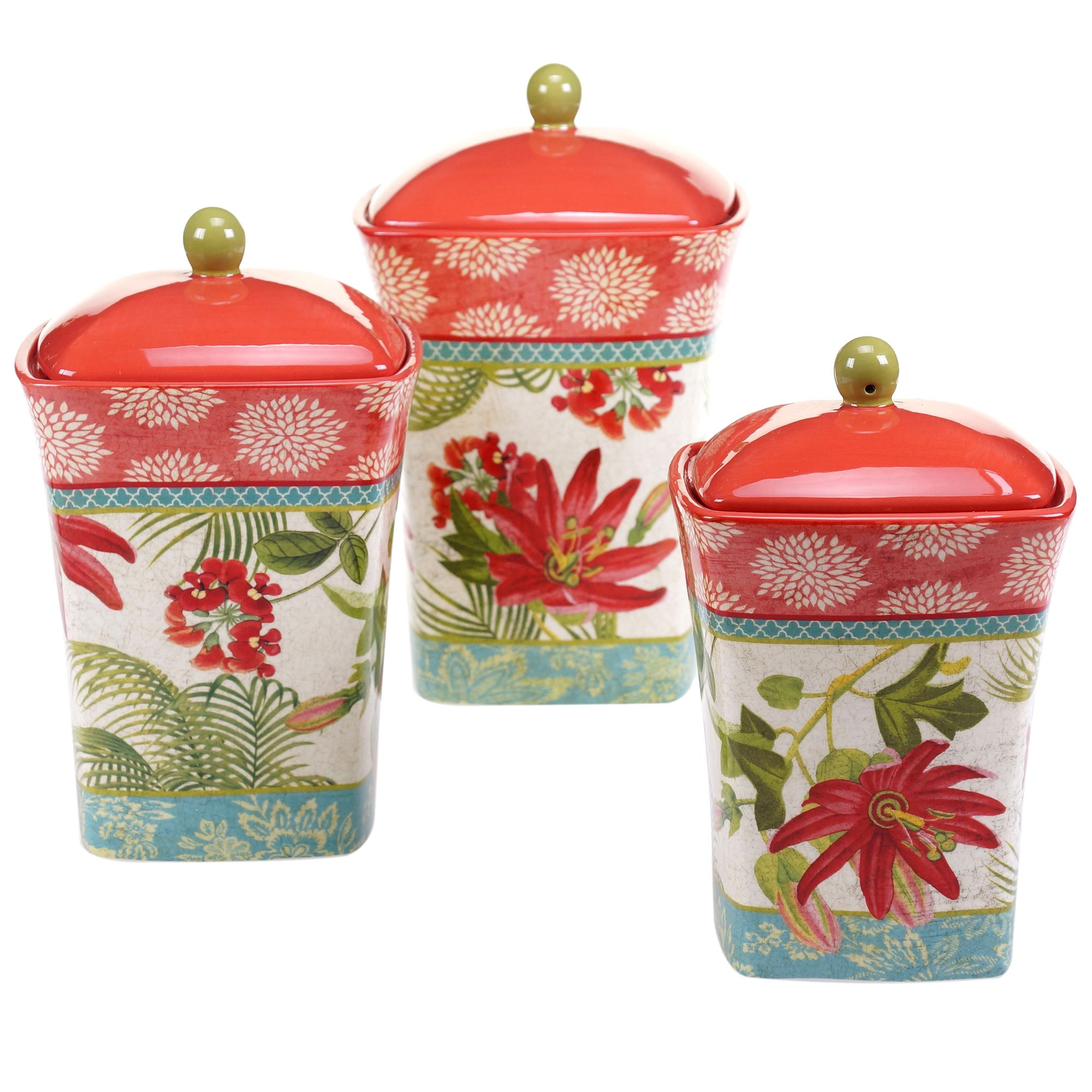 Certified international tropics 3 pc canister set