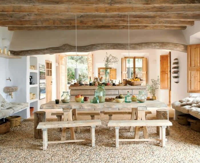 ... Rustikal Einrichten Natürlich Wohnen Holzbalken Küche Esszimmer    Einrichten Mit Massivholzmobeln Naturlichen Ambiente ...