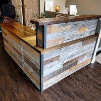 Reclaimed barn board reception desk by barnboardstore ...