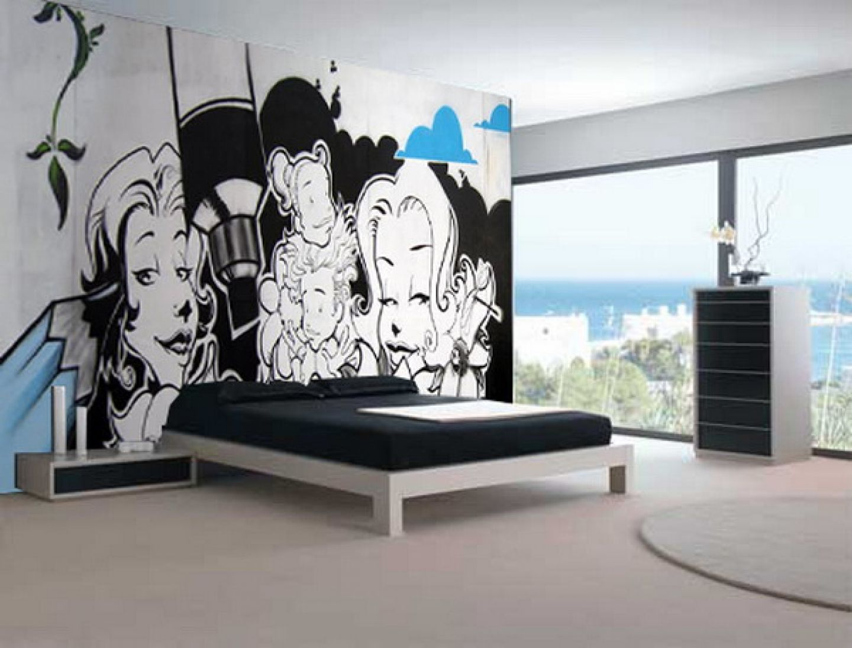Cute black white graffiti mural teen bedroom interior design idea