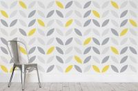 Yellow and Grey Abstract Flower Pattern Wallpaper ...