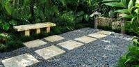 Courtyard, Bench, Asian, Lantern Small Yard Landscaping ...