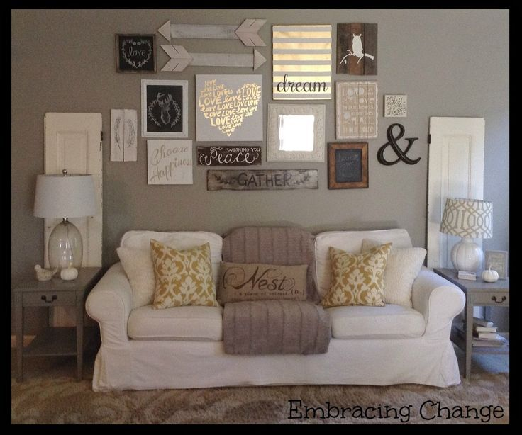 Living Room decor - rustic farmhouse style Rustic taller wall - decorating my living room