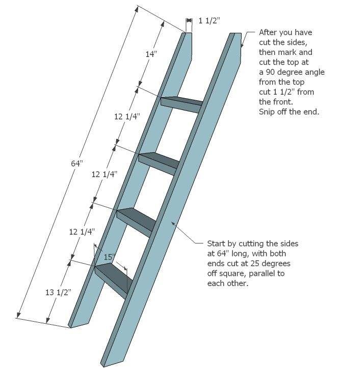 Bunk Bed Ladder Brackets ladder for the ladder cut two 2x4s 64 - the ladders
