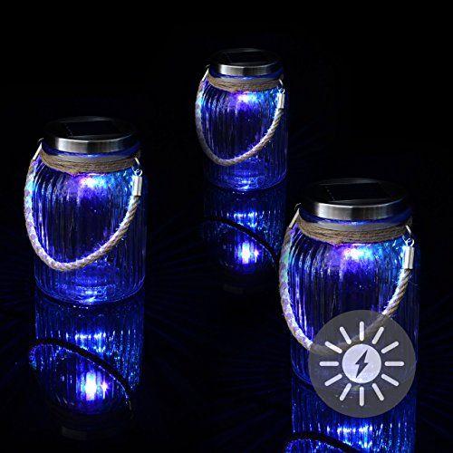 3er Set Solarglas mit 1 LED Solar Farbwechsel mit Aufhänger Glas - lampen ausen led