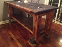 """3 x 7 and 42"""" high Pub Table with big casters. Legs are ..."""
