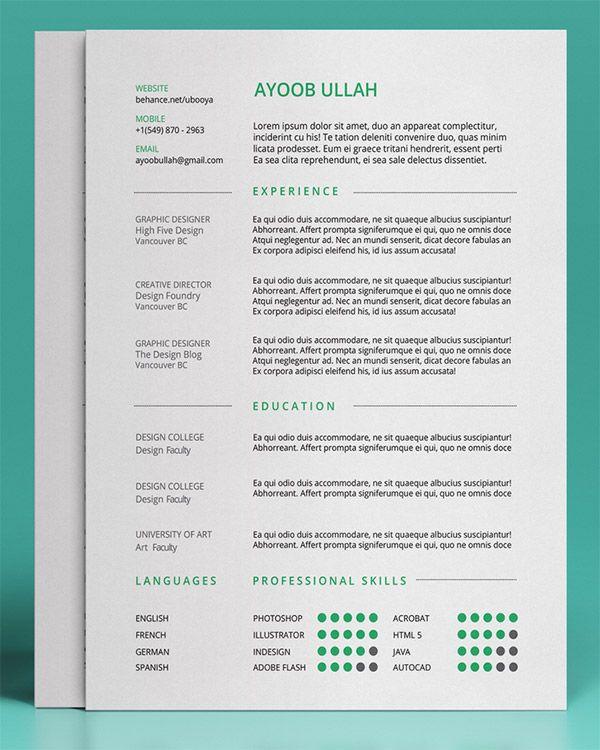 20 Free Editable CV\/Resume Templates for PS \ AI Cv resume - editable resume template