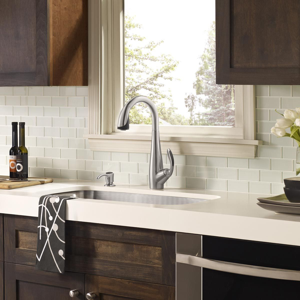 Backsplash White Cabinets White Glass Tile Backsplash White Countertop With Dark