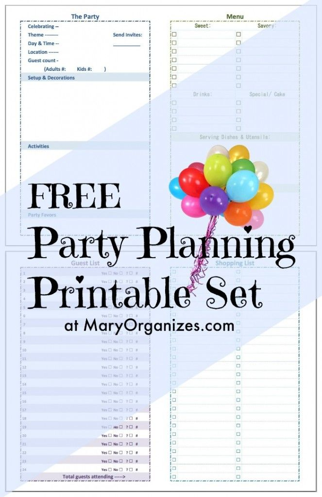FREE Printable Kidsu0027 Party Planning Checklist Party planning - birthday planner template