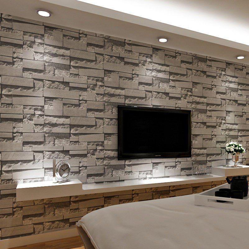 Gestapelte Ziegel D Stein Tapete Moderne Wandverkleidung Pvc Rolle - tapete steinoptik wohnzimmer