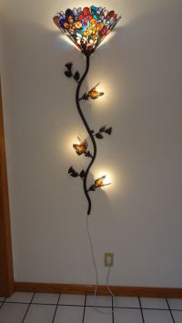 Tiffany-style stained glass butterfly spree wall lamp ...
