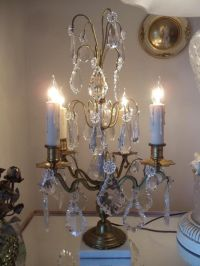 Antique vtg french brass & crystal chandelier girandole ...