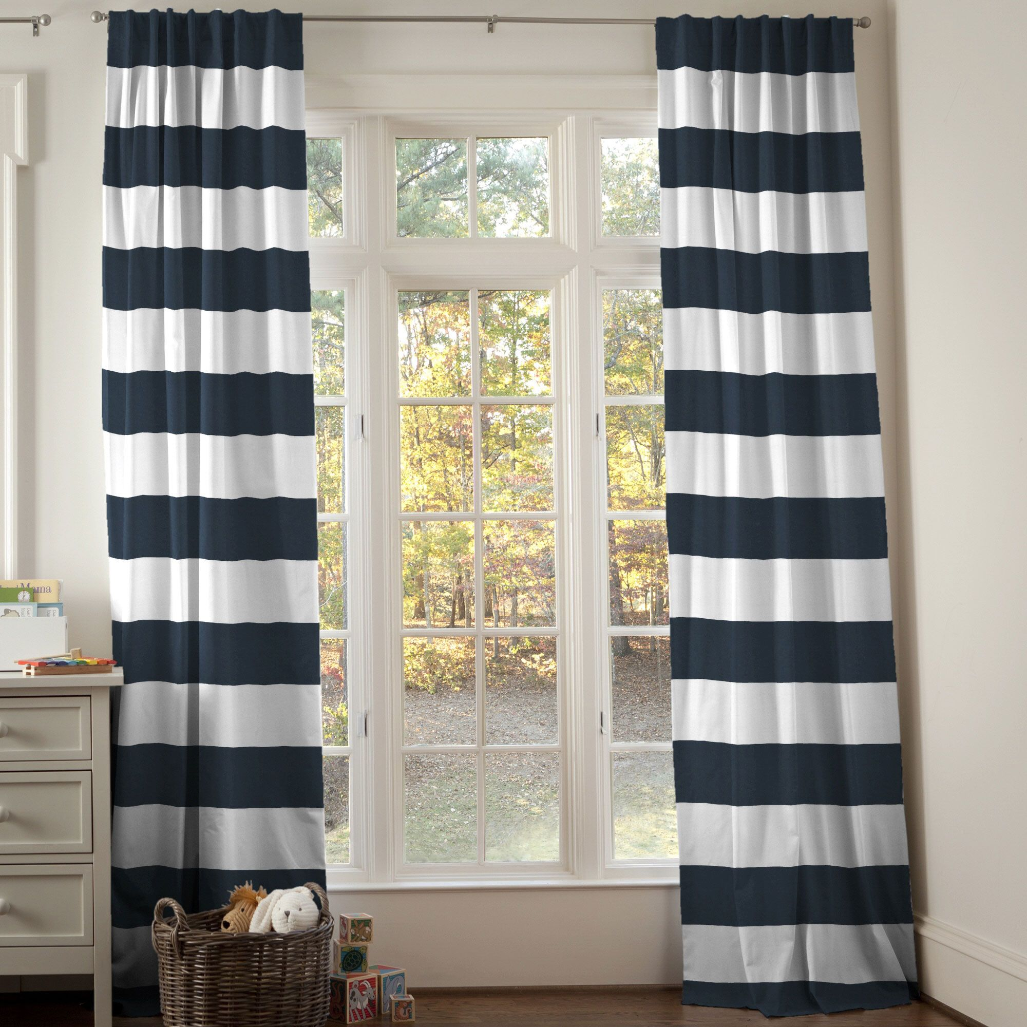 Baby Blue Blackout Curtains Navy Horizontal Stripe Drape Panel Carousel Designs Rod