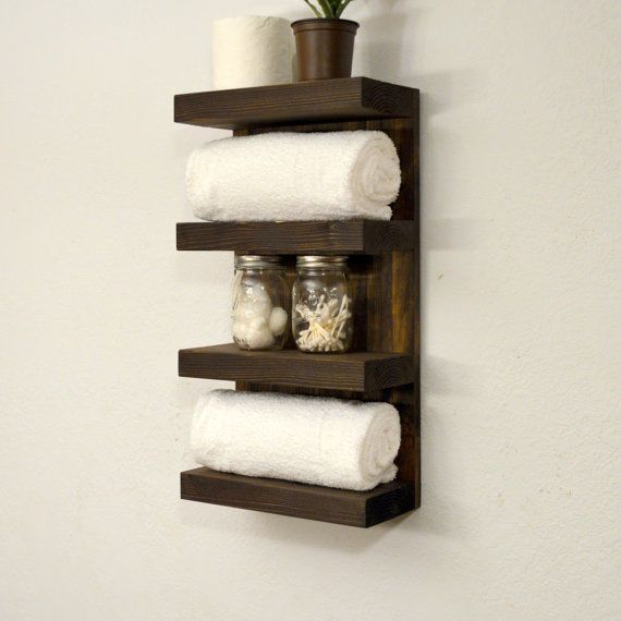 Bathroom Towel Rack 4 Tier Bath Storage Floating Shelf