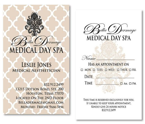 Medical Spa Business Cards \/ Appointment Cards by meaganadair - sample appointment card template