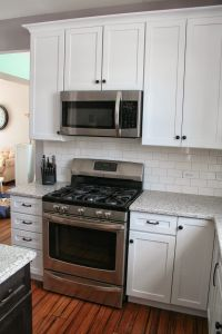 White shaker cabinets with Restoration Hardware Dakota ...