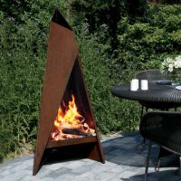 Heta Tipi Garden Steel Chimenea - Corten Steel   Fireplace ...