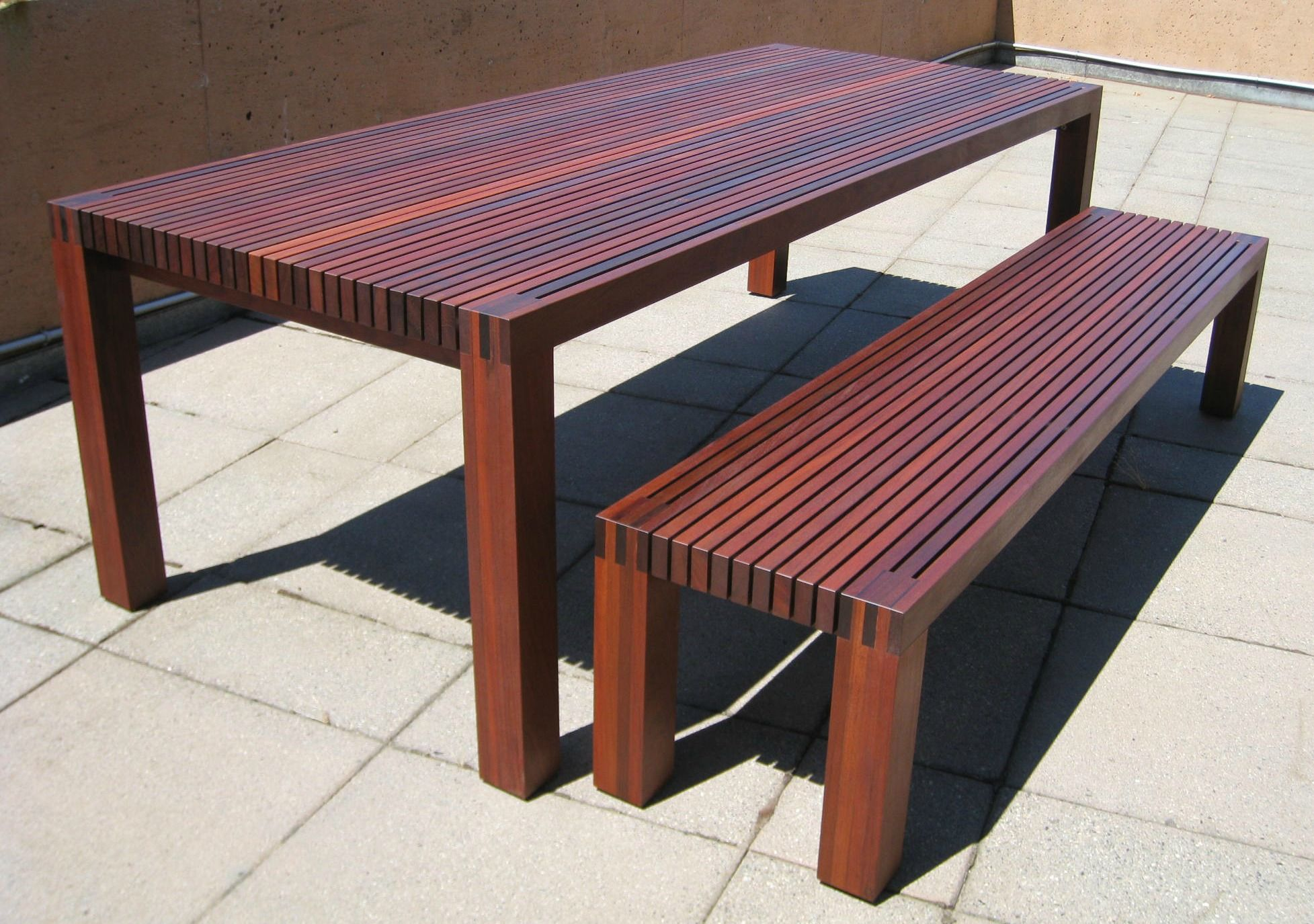 Japanese Dining Table For Sale 6 Slatted Outdoor Table 43 Bench Ipe Backyard