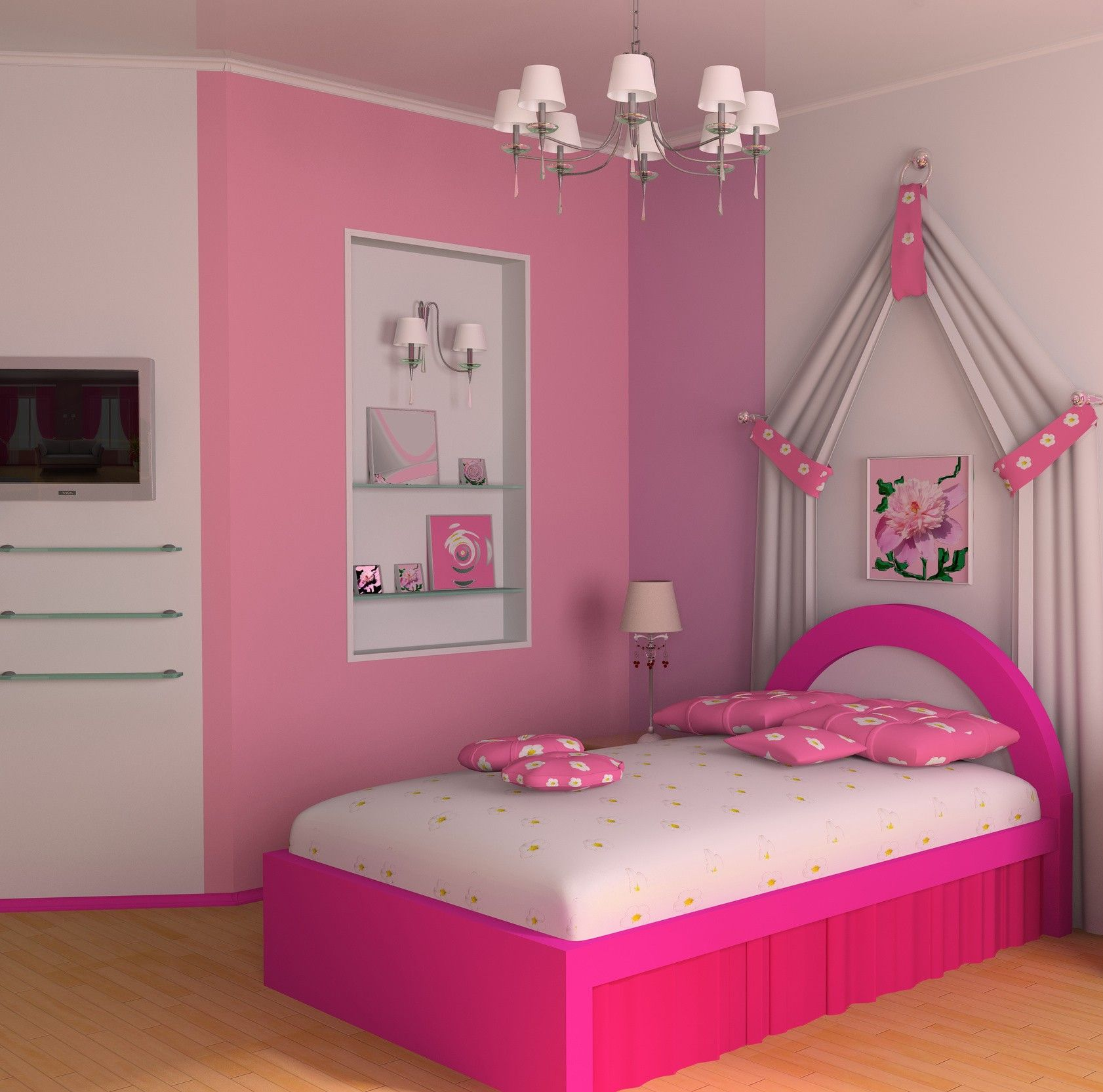 Girls bedroom heavenly pink bed design on teenage girl bedroom ideas comes with entrancing pink wall accent paint decor ideas plus agreeable chandelier idea