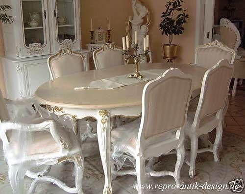 Barockesszimmer Stuhl Tisch Rokoko Weiß Louis XV Barock Esszimmer - esszimmer barock