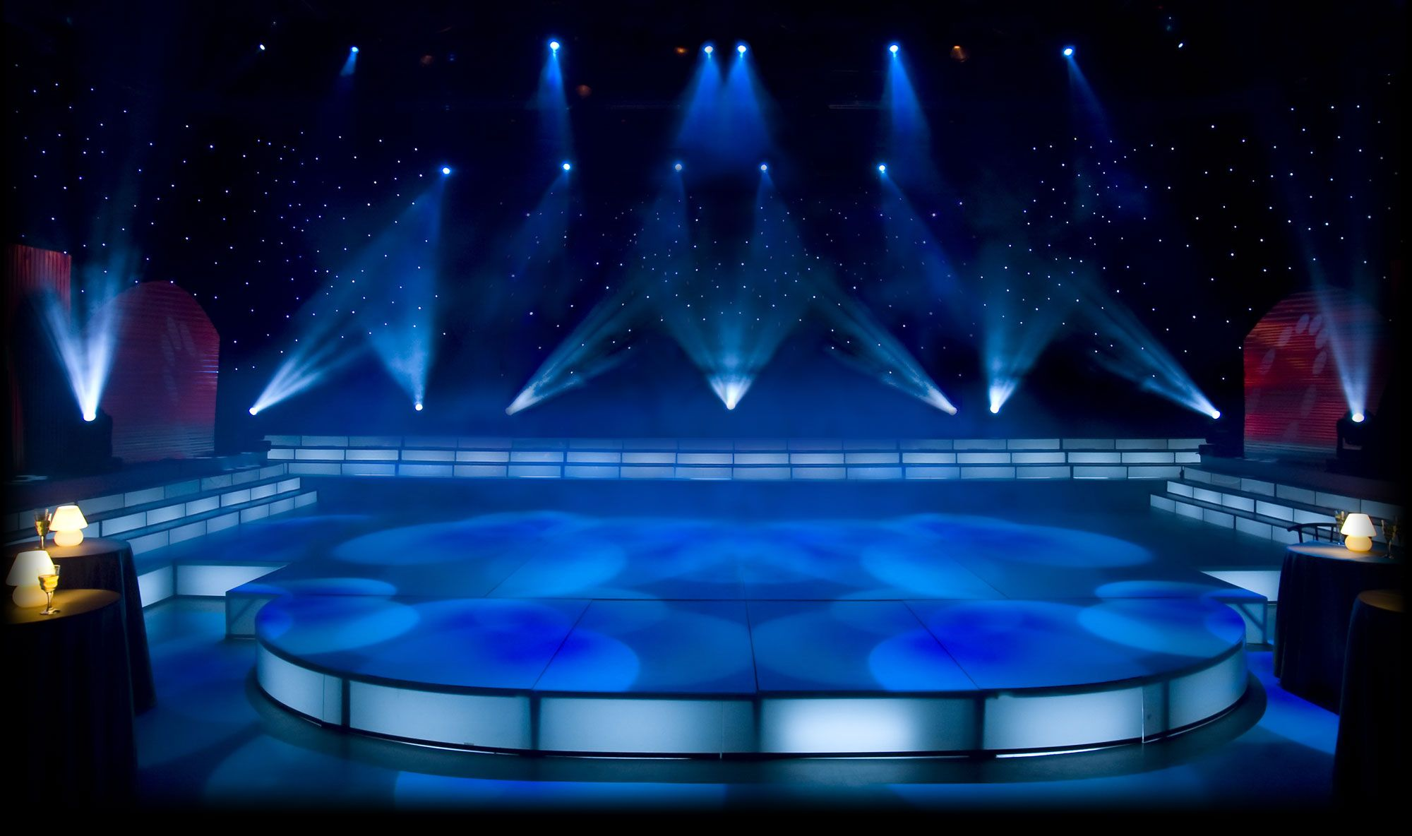 3d Effect Wallpaper For Living Room Empty Stage With Spotlight Concert Stage Background