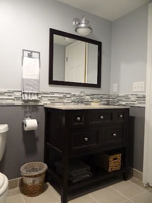two tone paint with tile inbetween For the Home Pinterest - bathroom backsplash ideas