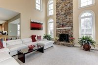 Transitional Living Room with metal fireplace, stone ...